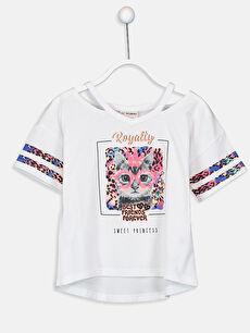 Beyaz Kız Çocuk Baskılı Pamuklu Tişört 9SM716Z4 LC Waikiki
