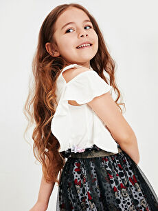 %100 Pamuk Kız Çocuk Minnie Mouse Fırfırlı Tişört