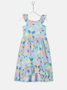 Yeşil Kız Çocuk Çiçekli Pamuklu Elbise 9SP372Z4 LC Waikiki