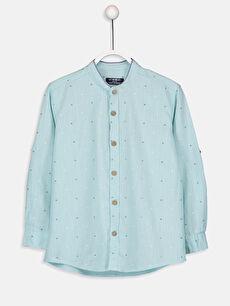 %100 Pamuk Baskılı Standart Uzun Kol Aile Koleksiyonu Erkek Çocuk Baskılı Poplin Gömlek