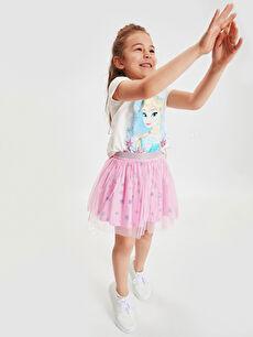 %100 Pamuk %100 Polyester Düz Takım Süprem Kız Çocuk Elsa Tişört ve Etek