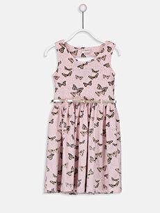 Kız Çocuk Pamuklu Elbise ve Kemer