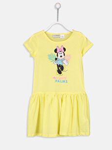 Sarı Kız Çocuk Minnie Mouse Pamuklu Elbise 9ST683Z4 LC Waikiki