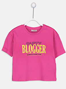 Pembe Kız Çocuk Baskılı Pamuklu Tişört 9SV307Z4 LC Waikiki