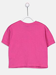 %100 Pamuk Baskılı Tişört Bisiklet Yaka Kısa Kol Kız Çocuk Baskılı Pamuklu Tişört