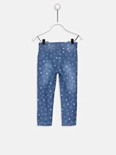 %68 Pamuk %29 Polyester %3 Elastan Standart Kız Bebek Desenli Jean