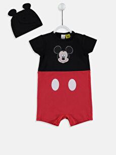 Erkek Bebek Mickey Mouse Baskılı Tulum ve Bere