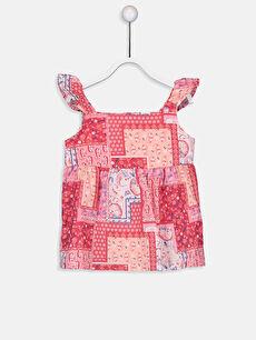 Kız Bebek Desenli Poplin Bluz