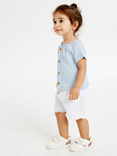 Beyaz Kız Bebek Pamuklu Şort 9SA654Z1 LC Waikiki