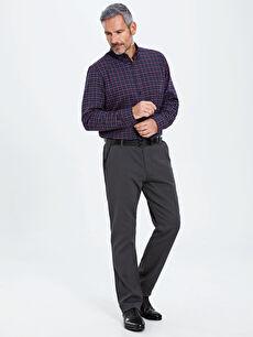 %98 Pamuk %2 Elastan Pantolon Düz Aksesuarsız Standart Normal Bel Uzun Standart Kalıp Armürlü Pantolon
