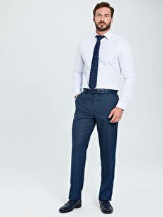 %71 Polyester %2 Elastan %27 Viskoz Normal Bel Normal Pantolon Standart Kalıp Armürlü Takım Elbise Pantolonu