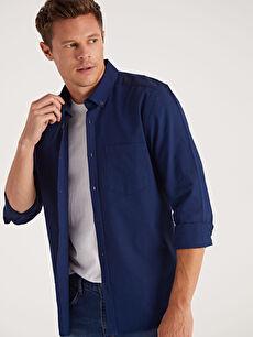 %100 Pamuk Oxford Uzun Kol Düz Düğmeli Gömlek Yaka Gömlek Dar Patlı Slim Fit Uzun Kollu Oxford Gömlek
