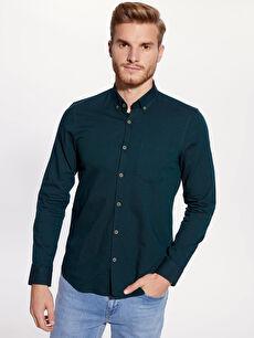 Yeşil Slim Fit Uzun Kollu Oxford Gömlek 9W3240Z8 LC Waikiki