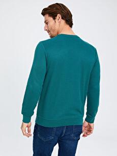 %45 Pamuk %52 Poliester %3 Viskoz Rahat Kalıp Bisiklet Yaka Basic Sweatshirt
