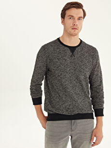 %50 Pamuk %50 Polyester Üç İplik Sweatshirt Rahat Kalıp Bisiklet Yaka Rahat Kalıp Basic Sweatshirt