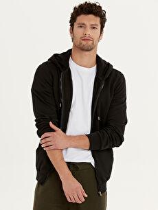 Siyah Kapüşonlu Basic Sweatshirt 9W3323Z8 LC Waikiki