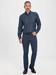 %71 Pamuk %26 Polyester %3 Elastan Slim Fit Armürlü Pantolon