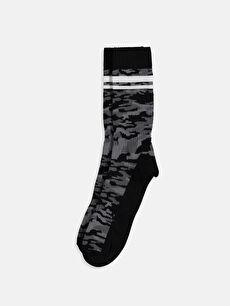 %79 Pamuk %19 Poliamid %2 Elastan Soket Çorap Baskılı Spor Orta Kalınlık Dikişli Kamuflaj Desenli Soket Çorap