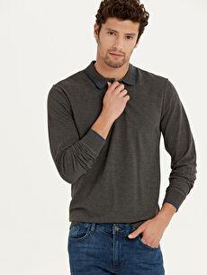 %49 Pamuk %51 Polyester Polo Yaka Uzun Kol Düz Standart Tişört Polo Yaka Uzun Kollu Basic Tişört