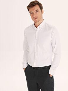 Beyaz Slim Fit Armürlü Uzun Kollu Gömlek 9W9680Z8 LC Waikiki