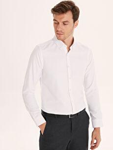 %61 Pamuk %39 Polyester Uzun Kol Düğmeli Gömlek Yaka Gömlek Baskılı Dar Slim Fit Armürlü Uzun Kollu Gömlek