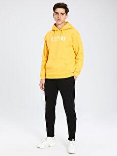 Erkek Rahat Kalıp Kapüşonlu Baskılı Sweatshirt