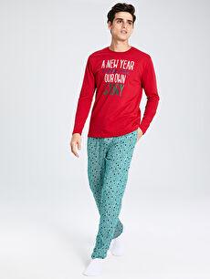 Yılbaşı Temalı Standart Kalıp Pamuklu Pijama Takım