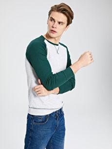 %30 Pamuk %69 Polyester %1 Elastan  Bisiklet Yaka Basic Sweatshirt