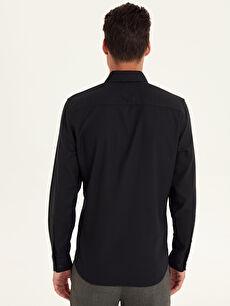 Erkek Slim Fit Armürlü Uzun Kollu Poplin Gömlek