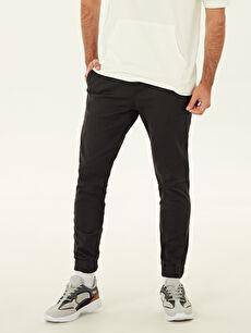 %98 Pamuk %2 Elastan Normal Bel Normal Pilesiz Pantolon Slim Fit Bilek Boy Jogger Pantolon