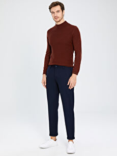 %97 Polyester %3 Elastan Normal Bel Dar Pantolon Aksesuarsız Düz Slim Fit Armüllü Pantolon