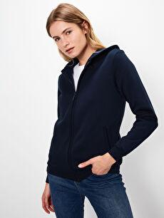 Lacivert Kapüşonlu Fermuarlı Sweatshirt 9W2124Z8 LC Waikiki