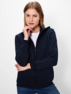 %66 Pamuk %34 Polyester  Kapüşonlu Fermuarlı Sweatshirt