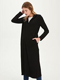 Kadın Kapüşonlu Düz Basic Uzun Hırka