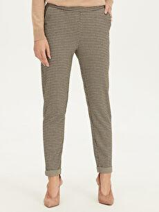 Kadın Kendinden Desenli Pantolon