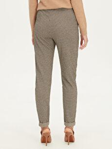 %81 Polyester %18 Viskoz %1 Elastan Kendinden Desenli Pantolon