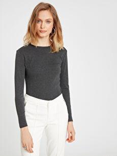%50 Pamuk %50 Polyester Tişört Bisiklet Yaka Uzun Kol Ribana Standart Uzun Kollu Basic Tişört
