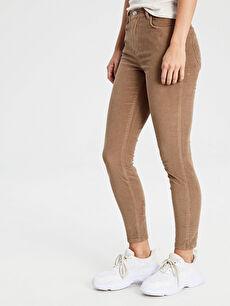 %98 Pamuk %2 Elastan Normal Bel Skinny Kadife Dar Paça Pantolon Kadife Skinny Pantolon