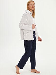 %94 Polyester %6 Elastan Standart Pijama Alt Uzun Orta Kalınlık Kadife Düz Kadife Pijama Alt
