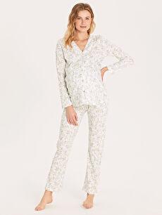 Desenli Pamuklu Hamile Pijama Takımı