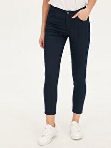 %65 Pamuk %32 Polyester %3 Elastan Standart Yüksek Bel Pantolon Düz Standart Gabardin Düz Paça Esnek Pantolon
