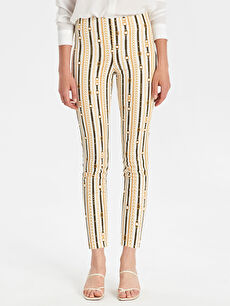 %68 Pamuk %28 Polyester %4 Elastan Bilek Boy Baskılı Normal Bel Skinny Pantolon Saten Desenli Skinny Pantolon