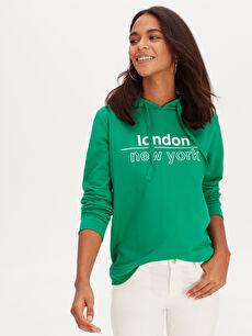 Yeşil Yazı Baskılı Kapüşonlu Pamuklu Sweatshirt 9WH952Z8 LC Waikiki