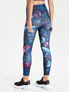 %90 Polyester %10 Elastan Galaksi Desenli Aktif Spor Tayt