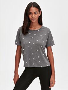 Gri Yıldız Baskılı Spor Tişört 9WI236Z8 LC Waikiki