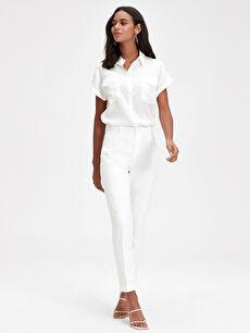 %54 Pamuk %42 Polyester %4 Elastan Yüksek Bel Çift Yüzlü Kumaş Dar Pantolon Düz Bilek Boy Bilek Boy Slim Pantolon