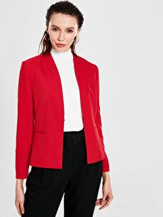 %85 Polyester %15 Elastan %100 Polyester Orta Ceket Kısa Yakasız Blazer Ceket