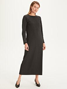 %70 Polyester %28 Viskon %2 Elastan Elbise Standart Astarsız Uzun Shift Uzun Kol Düz Kol Ucu Aplikeli Düz Kesim Uzun Elbise