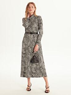 Kadın Şal Yaka Desenli Düz Kesim Elbise