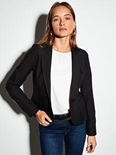 %94 Polyester %6 Elastan %100 Polyester Ceket İnce Dar Vücuda Oturan Uzun Kol Düz Standart Dokulu Kumaştan Blazer Ceket